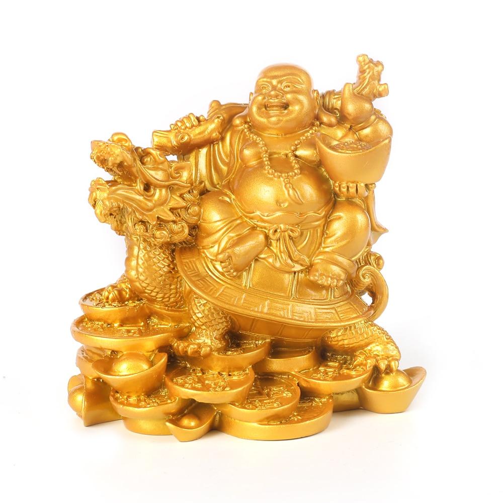 Laughing Buddha Sculpture Modern Art Resin Buddha Riding Dragon Turtle Statue Home Decoration Accessories Fortune Buddha Statue