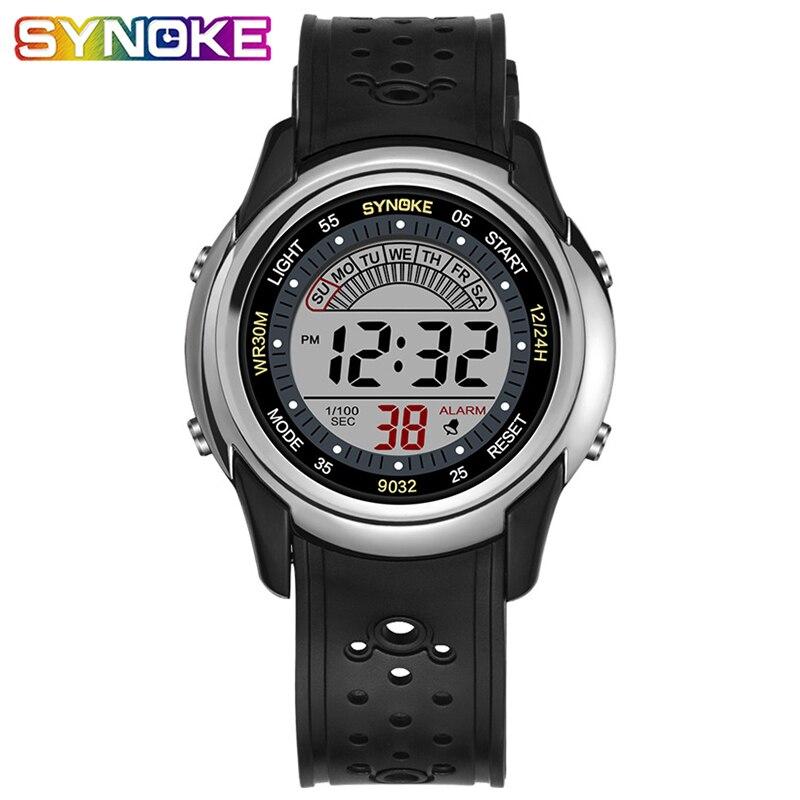 SYNOKE  Children Watch For Kids Sport Digital Boys Watches Shock Resistant  Back Light  Stop Watch 3Bar Waterproof Kid Watch