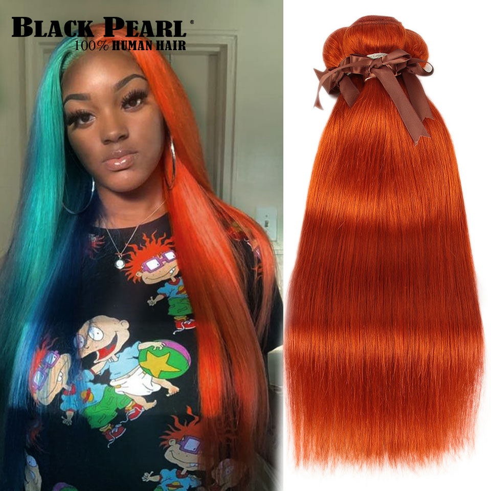 Orange Straight  Brazilian Hair Weave Bundles Human Hair Extension Vendors 8 To 28 Inch Remy 100% Human Hair Bundles