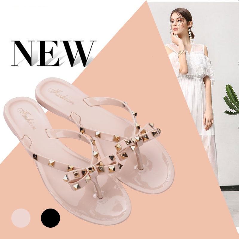 2020 Fashion Woman Flip Flops Summer Cool Beach Rivets Big Bow Flat Sandals Brand Jelly Shoes Sandals Girls Valentino