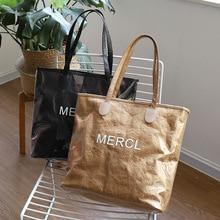 Transparent Kraft paper PVC Women handbags double layer Ladies Shoulder Bags Female Casual Tote Shopping Large capacity 2019