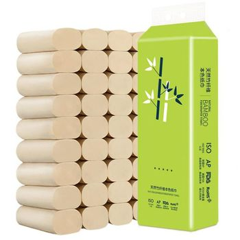 цена на 16 Rolls Natural Bamboo Pulp Roll Paper Toilet Paper 4 Layer Thickened Strong