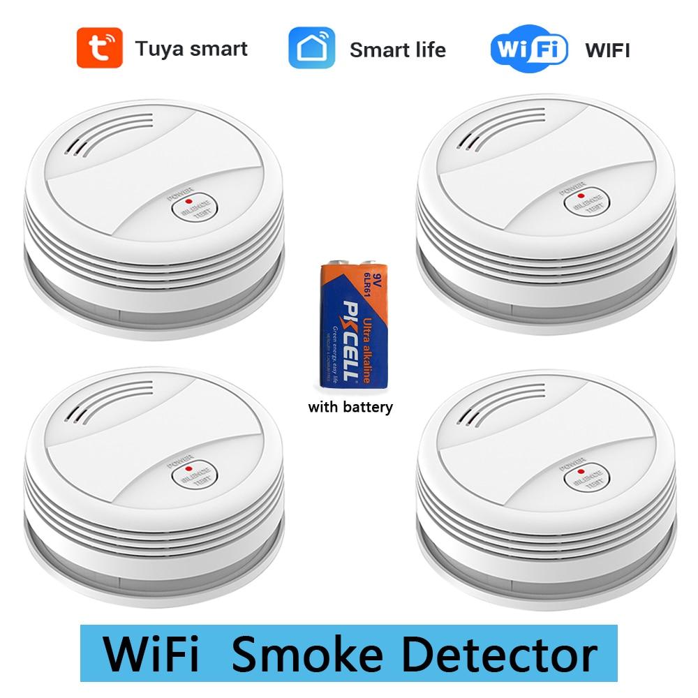 SM05W 4pcs/Lot WiFi Smoke Detector Fire Alarm Tuya APP Smart Life APP Control Sensor Detector Smoke Sensor WiFi Detector Smoke