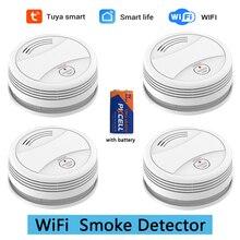 цена на SM05W 4pcs/Lot WiFi Smoke Detector Fire Alarm Tuya APP Smart Life APP Control Sensor Detector Smoke Sensor WiFi Detector Smoke
