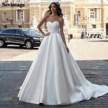 Простой атласное платье трапециевидной формы свадебные платья