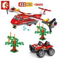 SEMBO 433pcs 화재 비행기 빌딩 블록 도시 트럭 헬리콥터 자동차 소방관 벽돌 나무 교육 DIY 완구 어린이를위한