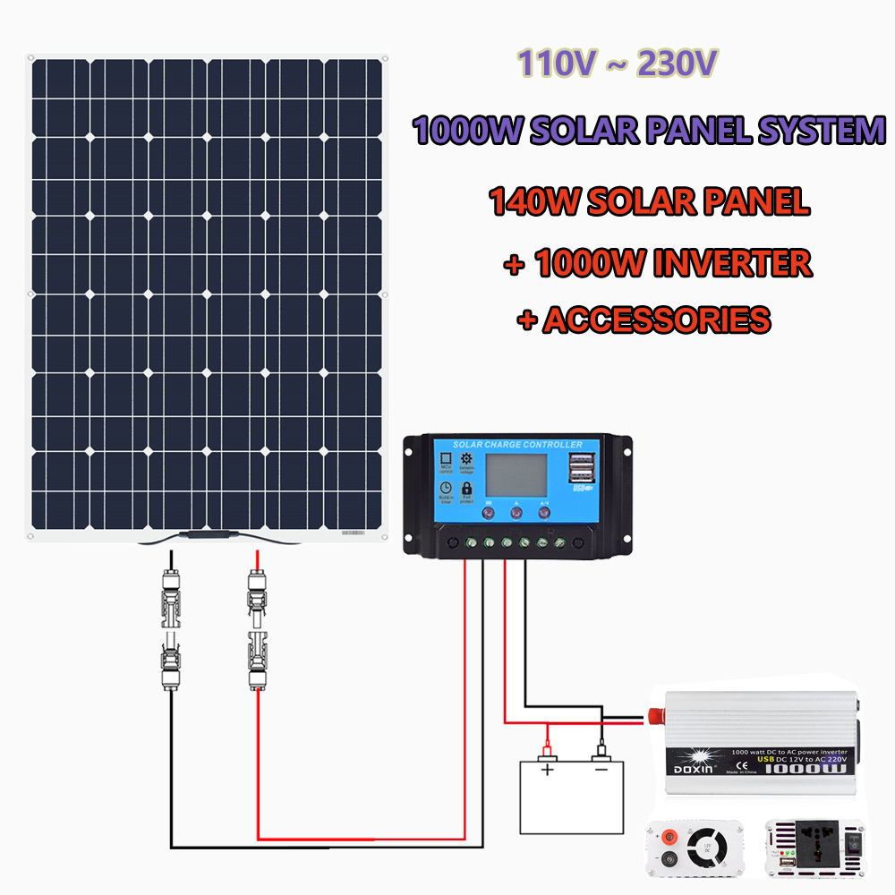 140w 150 Watt 12 Volt Solar Panel for Off-Grid 1000W Large Solar System House Battery Charging Boat Caravan RV Solar Arrays image