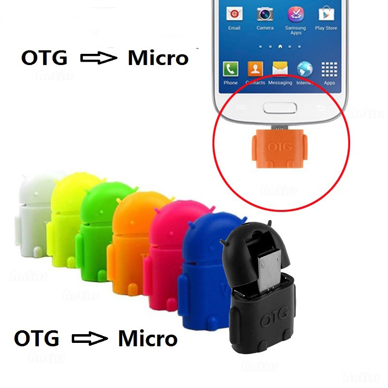 Cute Mini Robot Shape Micro USB To USB 2.0 Converter USB OTG Cable Adapter For Tablet PC For Samsung S3 S4 S5 For Xiaomi