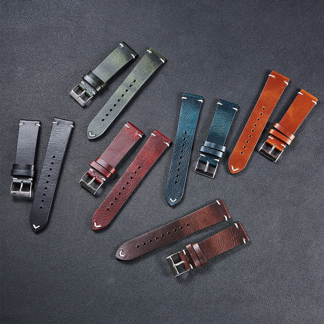 2020 New Oil Wax Leather Watch Accessories 20mm 22mm Vintage Watch Strap Black Blue Brown 6 Colors Available Handmade Watchband