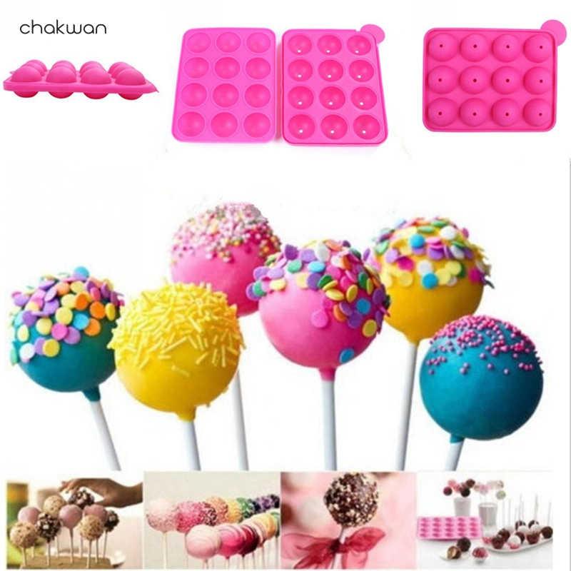 DIY Lollipop Alat 12 Lubang Silikon 3D Lollipop Cetakan 1 PC Kue Pop Kue Cokelat Es Bola Cupcake Cetakan dekorasi