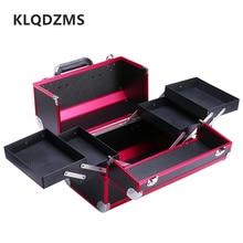 KLQDZMS Women Large Capacity Cosmetic Bags Plastic Tattoo Case Professional Nail Makeup Toolbox Handbag Cosmetic Fashion Box