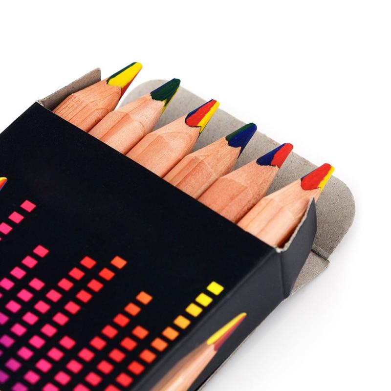 7Pcs Rainbow Jumbo Multicolor Pencil Natural Wood Pens Set Art Drawing Graffiti