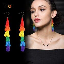 Vnox Chic Rainbow Color Long Tassel Earrings for Women Party Celebration Wear Gifts Jewelry