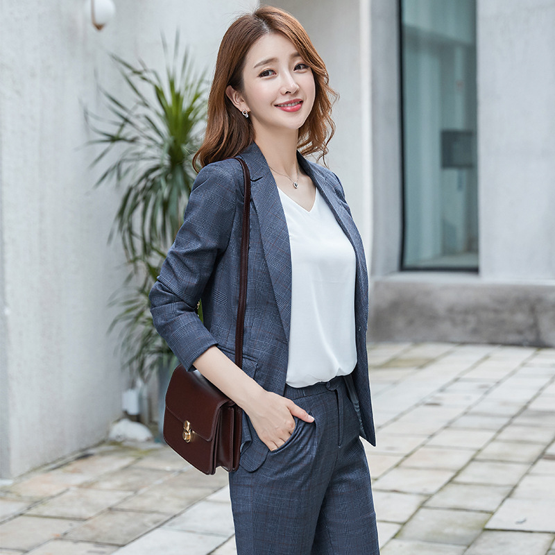 Women's Suit 2019 Autumn New Casual Fashion Temperament Slim Slimming Plaid Single Buckle Small Suit Trousers Two-piece