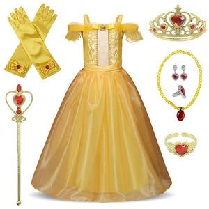 Złota sukienka księżniczki belli Cosplay drapowana sukienka dziewczyny korona magiczna kij Party sukienka dla dziewczynek odzież suknia na przyjęcie urodzinowe