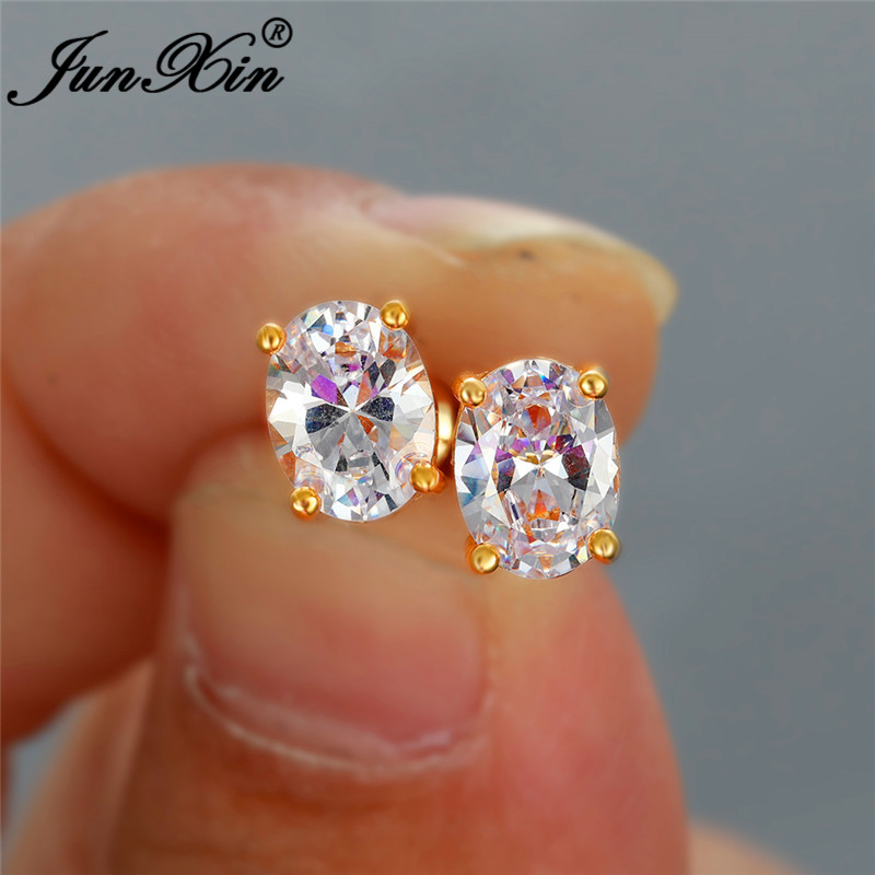 Girls Cute Crystal Oval Stud Earrings For Women White Gold Yellow Gold Small Zircon Rainbow White Stone Wedding Earrings Jewelry