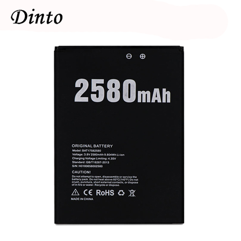 Dinto NEW DOOGEE X20 2580mAh 3.8V Battery Li-ion Polymer Replacement Cell Phone Battery For Doogee X20 X20L Mobile Phone BAT17582580