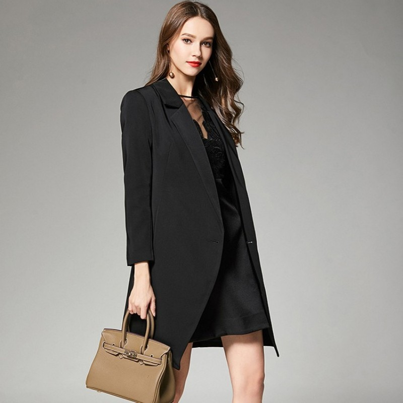 Fashion Women Black Belted Long Blazer Slim Fit Sexy Blazer Dress Autumn Long Sleeve Sashes Office Ladies Business Party Coat