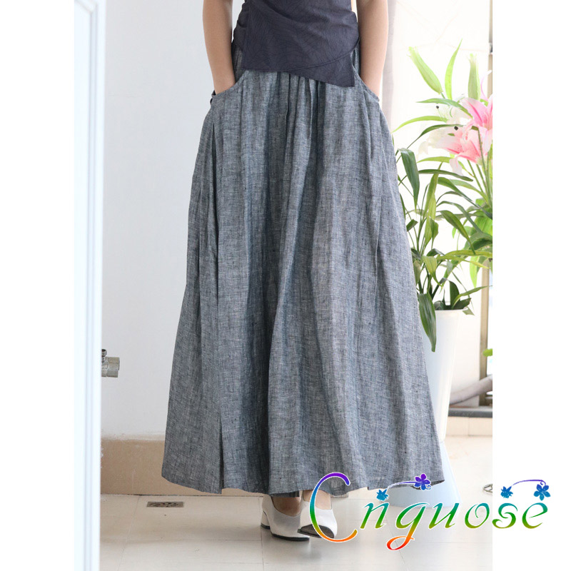2019 Plus Size Spring And Summer Vintage Casual 100% Linen Big Pocket Female A Line Pleated Long Maxi Skirts With Womens