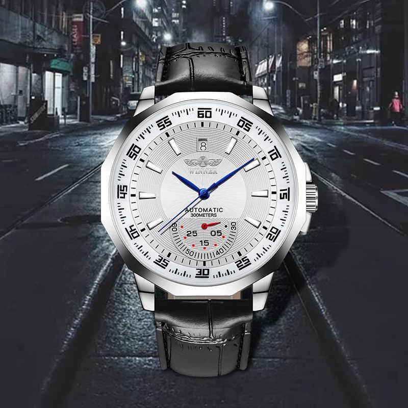 Nouveau gagnant montres hommes automatique mécanique montres forme irrégulière boîtier cadran Sport horloge calendrier affichage lumineux aiguilles montre