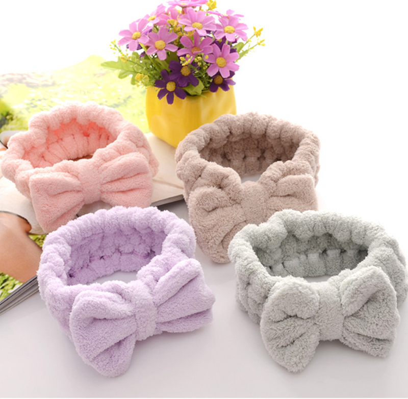 1pc Flannel Cosmetic Headbands Soft Bowknot Elastic Hair Band Hairlace for Washing Face Shower Spa Makeup Brushes Tools 4 Colors(China)