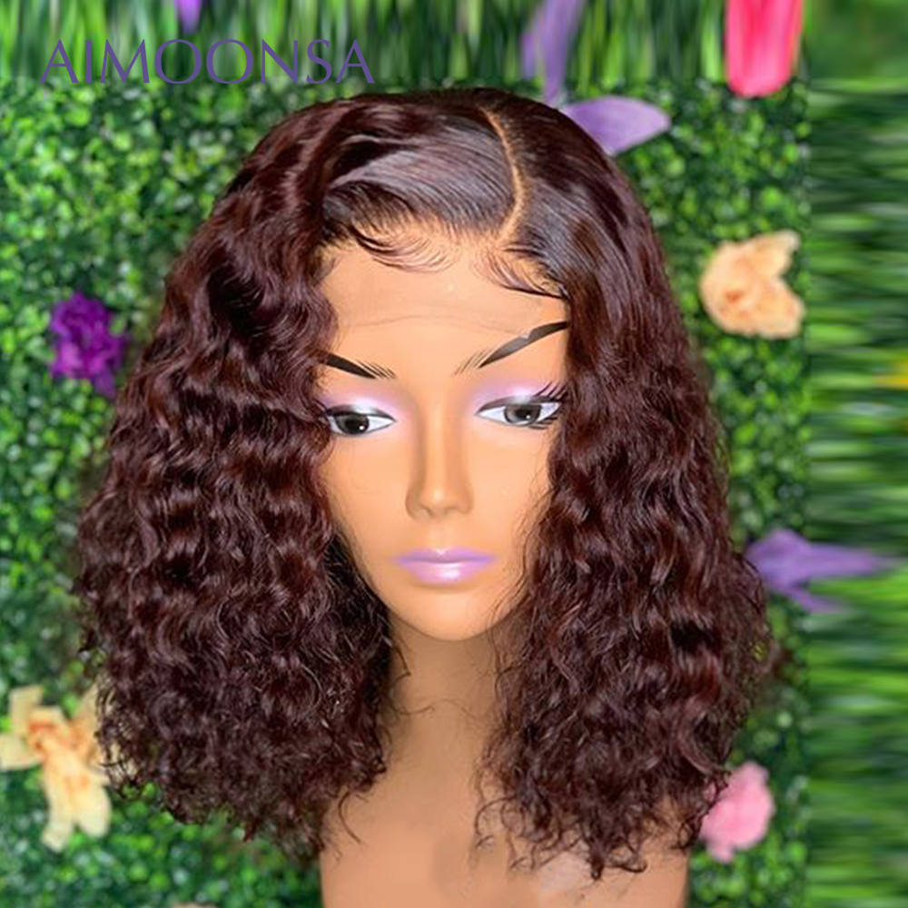 Burgundy Lace Front Wig  Curly Human Hair Wig 13x6 Deep Part Short BobWigs Pre Plucked Lace Wig Raw Indian Hair Remy Aimoonsa