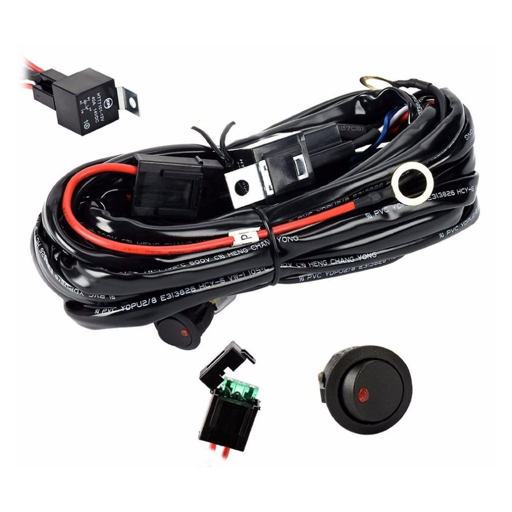 Universal 12V 40A Car Fog Light Wiring Harness Kit Loom For HID Work Driving Light Bar With Fuse And Relay Switch|Wire| |  - title=