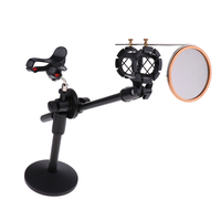 Table Microphone Mic Stand w/ Pop Filter Noise resistant for Radio Room/Studio/Video Chat
