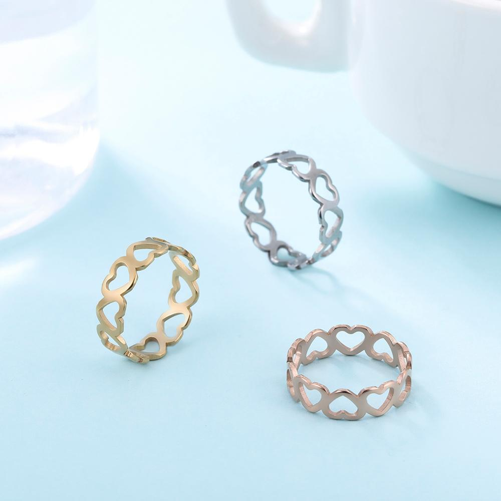 Skyrim милое Открытое кольцо в форме сердца нержавеющая сталь, романтичное розовое золото цвет повседневные Свадебные обручальные кольца юве...
