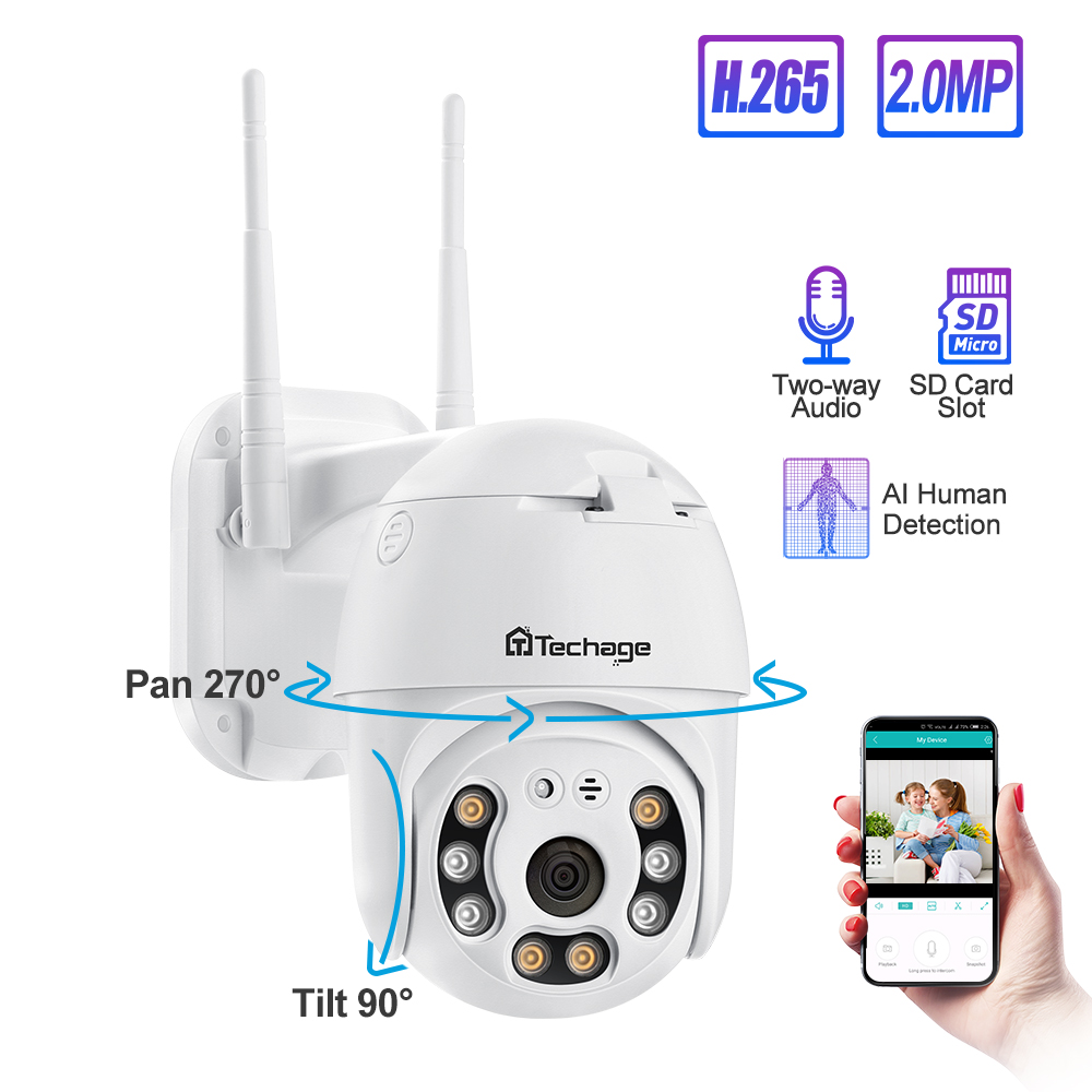Techage 1080P Speed Dome PTZ Security Camera Motion Alert Dual Antenna Wireless Camera Audio IR Night Vision CCTV Surveillance