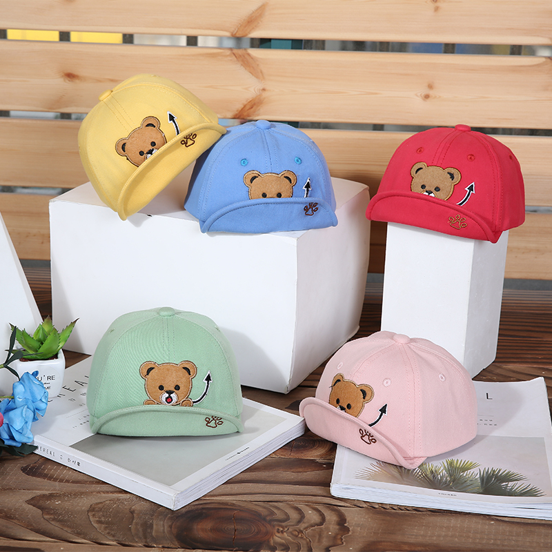 H7b0532d3911a4da6819f27711ca589d61 - Baby Hat Cute Bear Embroidered Kids Girl Boy Caps Cotton Adjustable Newborn Baseball Cap Infant Toddler Beach Outdoor Sun Hat