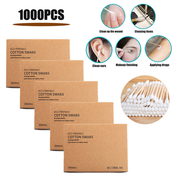 1000/2000pcs Bamboo Cotton Swabs Disposable Double Head Cotton Buds Wood Sticks For Ears Nose Cleaning Beauty Makeup