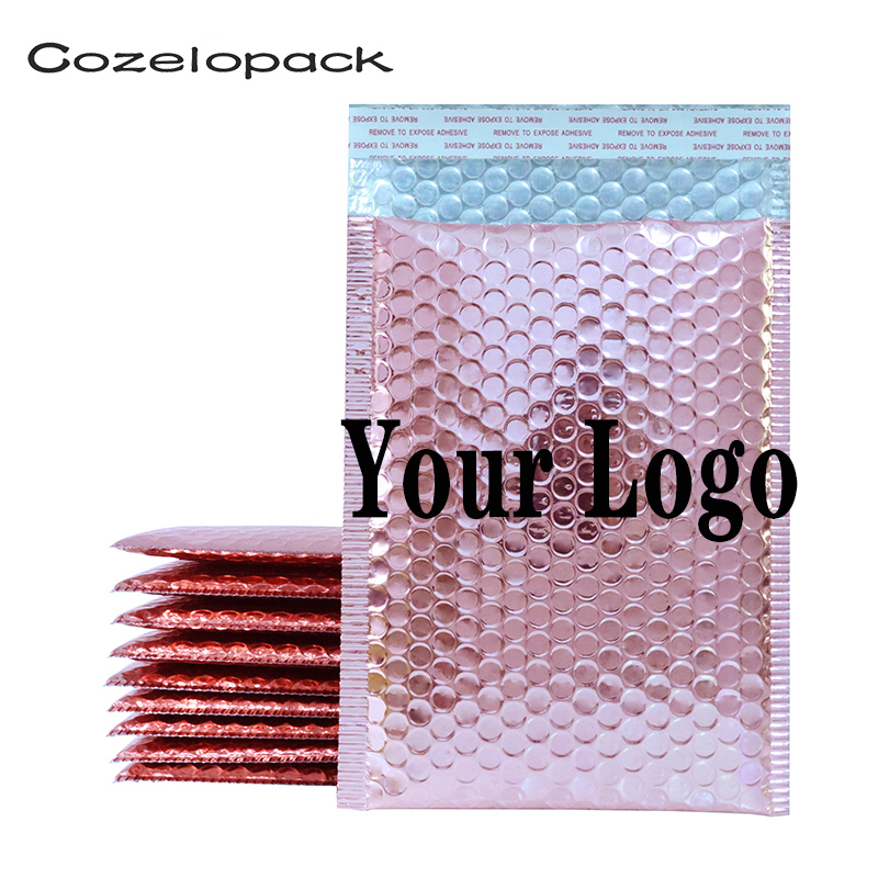 50PCS Custom Logo Bubble Mailers Padded Envelopes Courier Storage Postal Bags Gift Packaging Padded Shipping Bubble Envelopes