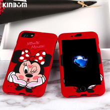 KINBOM 360 Case For iPhone 7 8 6S Mouse Cartoon Cover for Plus 6 Full protection