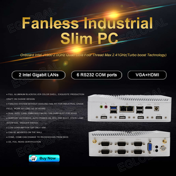EGLOBAL embedded industrial pc G3 Intel Celeron j1900 rs485 / rs232 embedded nuc with dual LAN industrial com port