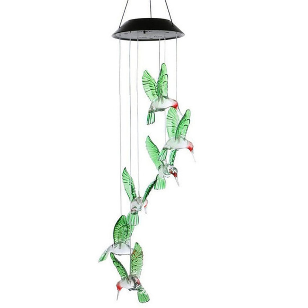 Solar Light Hummingbird LED Light Wind Chime Color-Changing Solar LED Waterproof Hummingbird Wind Chimes