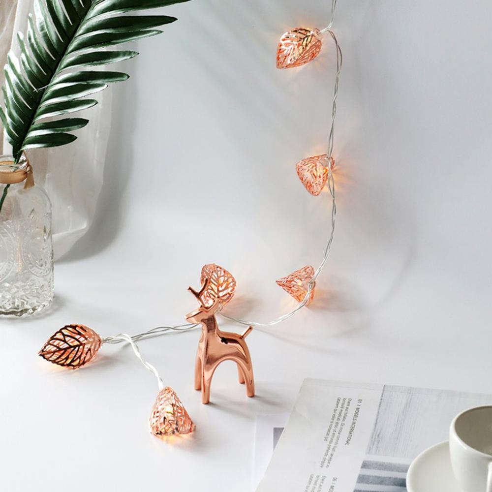 Купить металлическая светодиодная гирлянда из розового золота украшение