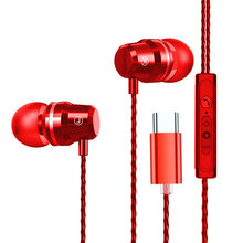Type C Earphone Dynamic Drive HiFi USB-C Earbuds In-ear Bass Metal Sport Gaming Headset with Mic for Xiaomi Huawei Letv new tin audio t2 in ear earphone double dynamic drive hifi bass earphone dj metal 3 5mm earphone headset with mmcx