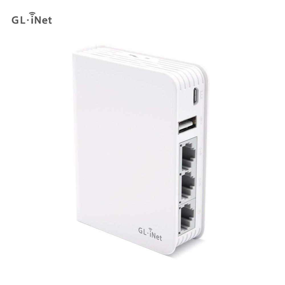 GL.iNet AR750 Travel AC Router 300Mbps(2.4G) 433Mbps(5G) Wi Fi  128MB RAM MicroSD Storage Support OpenWrt/LEDE pre  InstalledModem-Router Combos
