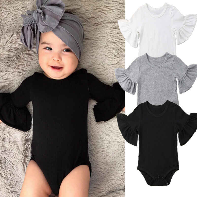 0-24M Newborn Baby Girl Flare Sleeve Solid Black White Grey Casual Romper Jumpsuit One-Piece Outfits Baby Cotton Clothes Suit