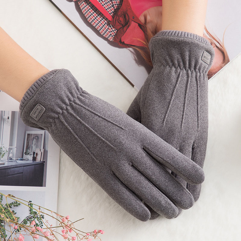 Winter Female Double Thick Plush Wrist Warm Cashmere Cute Cycling Mittens Women Suede Leather Touch Screen Driving Glove C63
