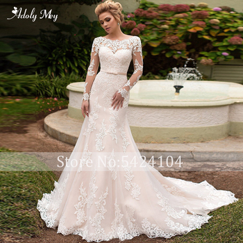 Adoly Mey Gorgeous Appliques Court Train Mermaid Wedding Dresses 2020 Elegant Scoop Neck Lace Up Long Sleeve Trumpet Bridal Gown