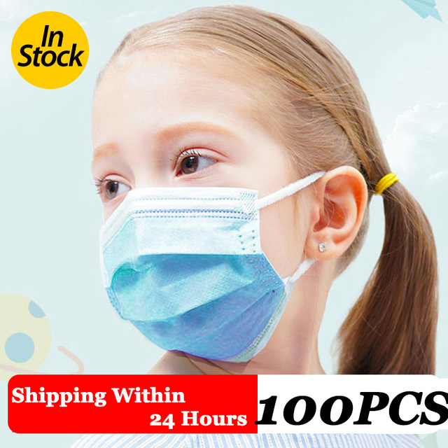 100Pcs 3 layer Disposable Elastic Mouth  Blue Soft Breathable Flu Hygiene Child Kids Face Mask Dropshipping