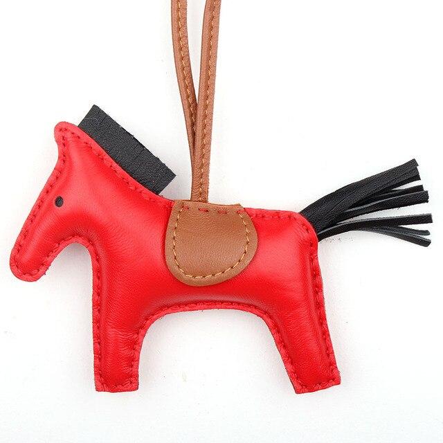 Famous Brand Cute Luxury Sheep Skin Soft Genuine Leather Cute Horse Keychain Pendant Animal Key Chain Women Backpack Bag Charm