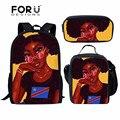 FORUDESIGNS/Детская сумка для школы  черные Волшебные африканские школьные сумки для девочек  детские 3 шт./компл. сумка на плечо  для студентов ...