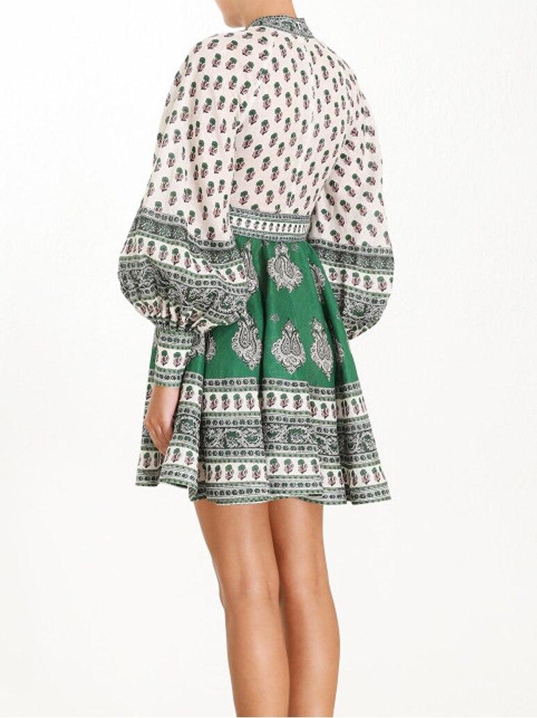 Europe mode coton et lin robe femmes 2019 nouveau automne dames robe tempérament à manches longues décontracté femmes vêtements - 5