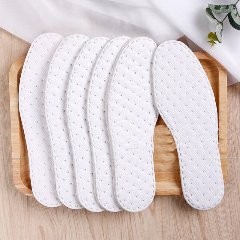 Sweat-absorbent Breathable Solid Insoles Unisex Non-woven Fabric White Insoles Comfortable Soft Disposable Sanitary Insoles