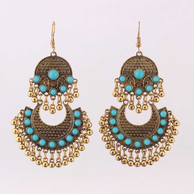 Ethnic Turkish Indian Style Gold Silver Jhumka Resin Beaded Statement Long Earrings for Women Boho Party Gypsy Thailand Jewelry in Drop Earrings from Jewelry Accessories