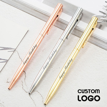 New Customized Logo Metal Ballpoint Pen  Pen Customized Logo Advertising Ballpoint Pen Lettering Engraved Name School and Office sales champion 60pcs lot 10 colors metal pen customized logo printing with free logo name or text for company event supplies