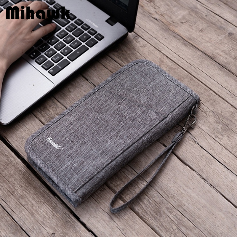Mihawk Travel Business Wallet ID Card Bag Men's Waterproof Passport Cover Holder Coins Packing Organizer Trip Accessories Supply